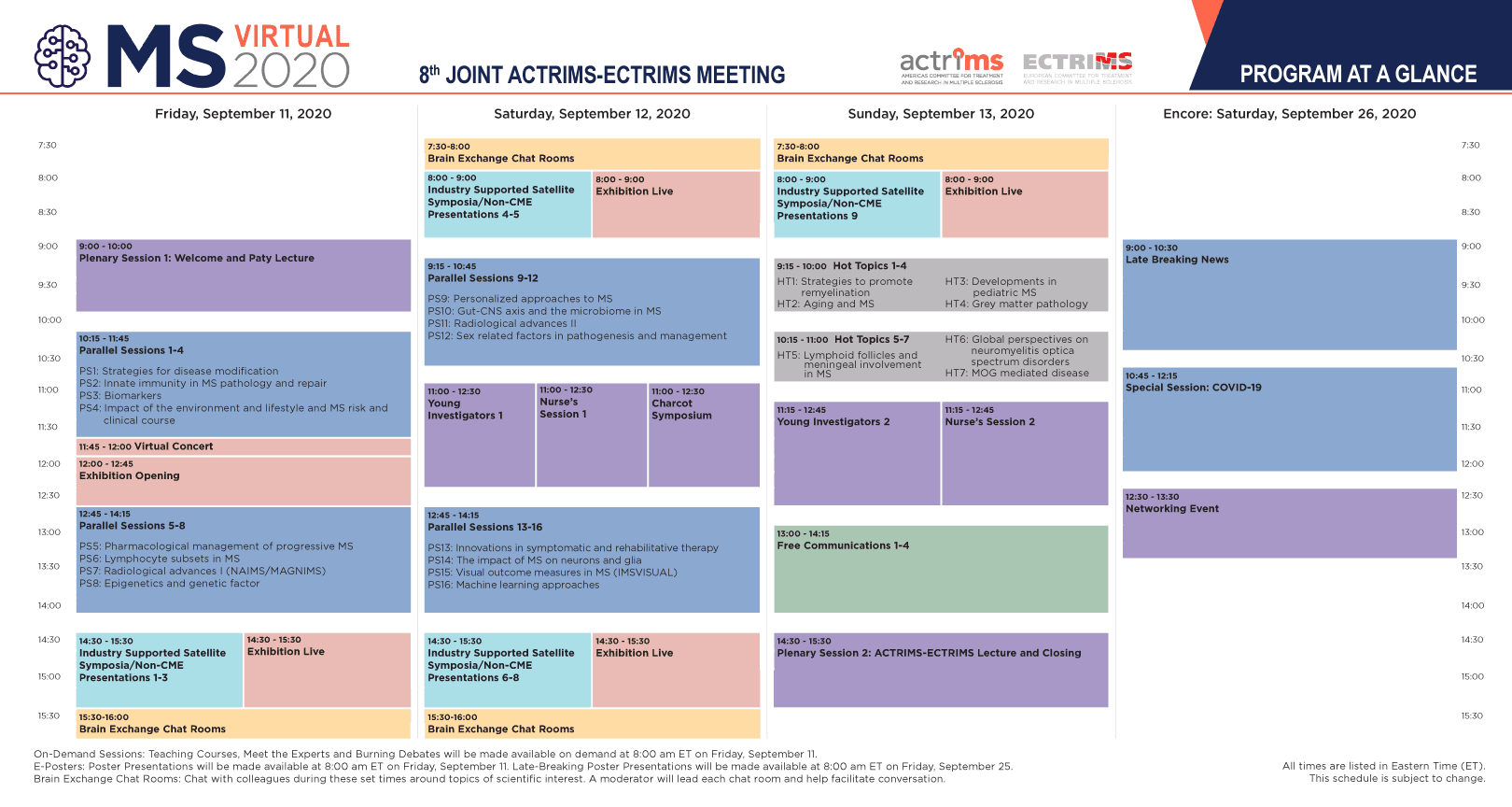 ACTRIMS-ECTRIMS: Program at a Glance